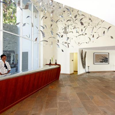 Lobby, decorated with aluminium slivers